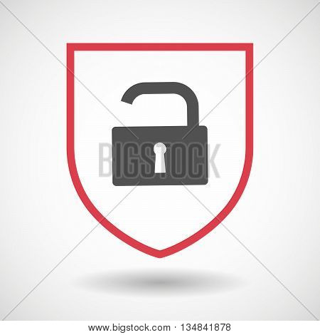 Isolated Line Art Shield Icon With An Open Lock Pad