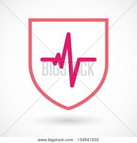 Isolated Line Art Shield Icon With A Heart Beat Sign