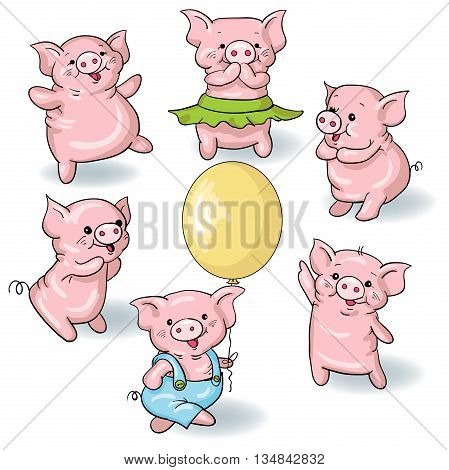Vector set - funny cartoon pigs isolated on white background. Hand-drawn illustration.