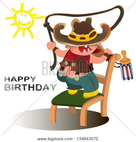 Young cowboy with western hat and boots.Vector happy kid illustration for party birthday