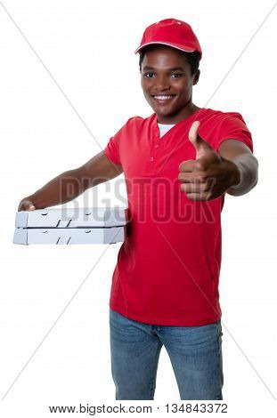 African american pizza delivery guy showing thumb on an isolated white background for cut out