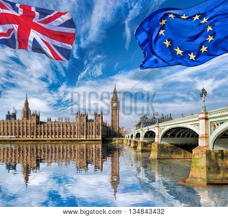 European Union And British Union Flag Flying Against Big Ben In London, England, Uk, Stay Or Leave,