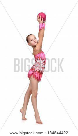 Girl Gymnast Doing Gymnastics