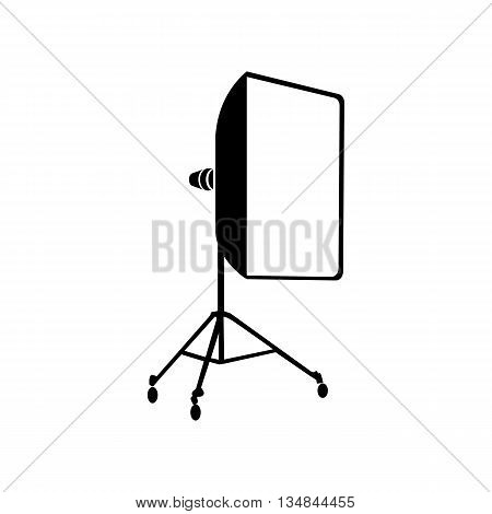 Studio light bulb in softbox icon in simple style on a white background