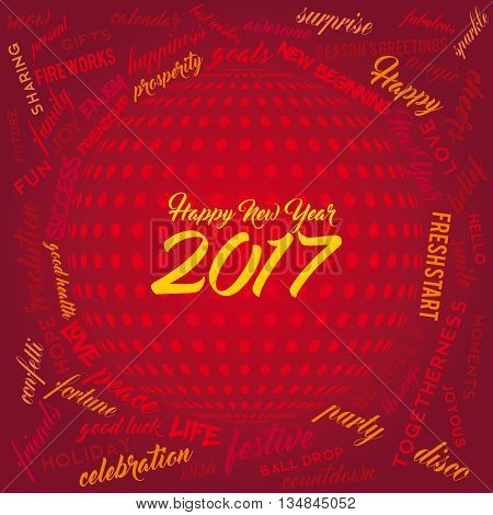 New Year word cloud on a red background with disco ball