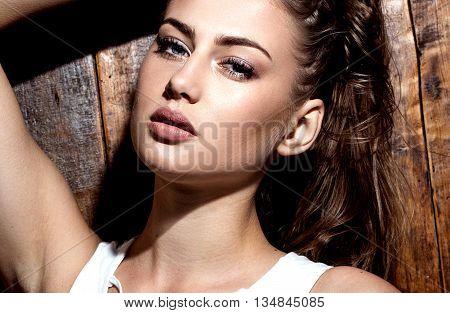 Sensual Brunette Woman In Lingerie.