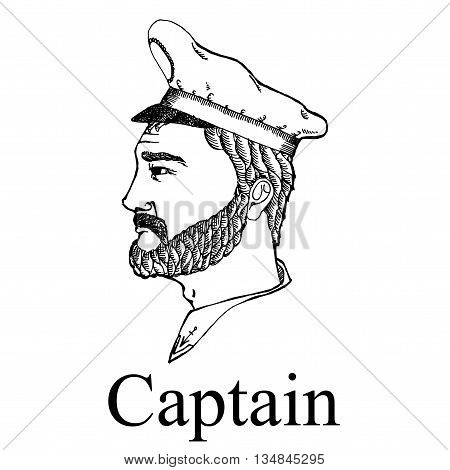 Ship captain profession. Hand drawn vector stock illustration. Black and white image