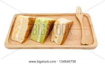 chiffon cake on wood white background, ready to serve