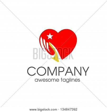 Heart love and hand symbol logo template