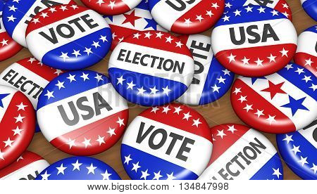 US presidential election in USA vote concept with sign on campaign badges banner background 3D illustration.