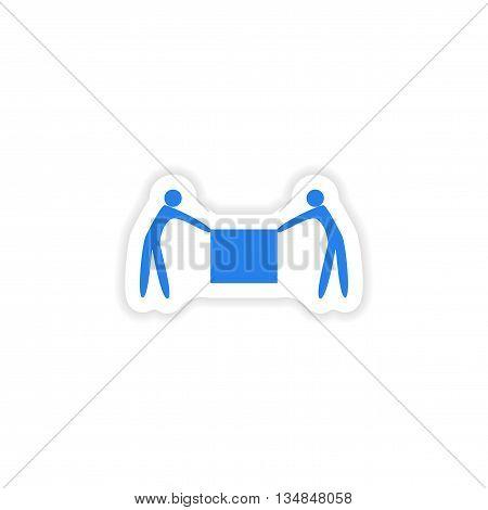 icon sticker realistic design on paper porters box