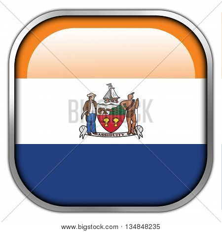 Flag Of Albany, New York, Square Glossy Button