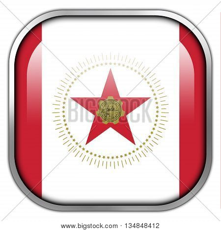 Flag Of Birmingham, Alabama, Square Glossy Button