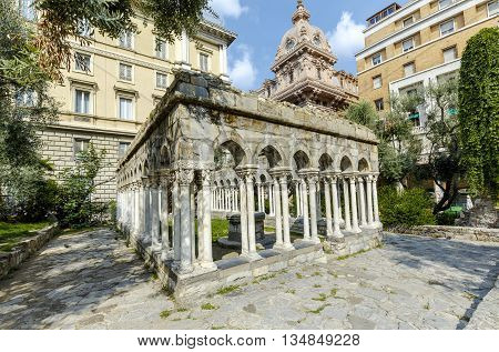 12th century cloisters standing in a small garden (between Porta Soprana and Christopher Columbus' house) - are all that remain of the convent that once stood here. Genoa Italy.