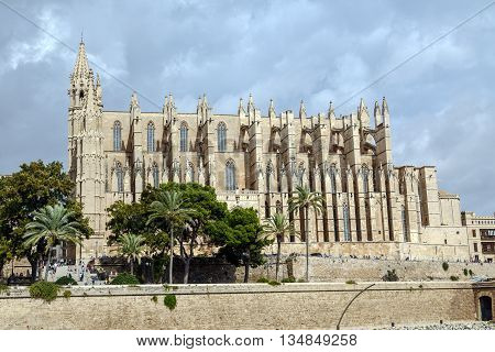 Palma de Mallorca Spain - October 2 2015: The Cathedral of Santa Maria of Palma Commonly Referred to as La Seu is a Gothic Roman Catholic cathedral located in Palma Majorca