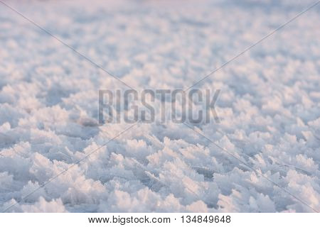 Closeup of large snow flakes or crystals formed due to extreme cold weather