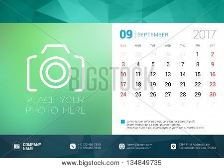 Desk Calendar Template For 2017 Year. September. Design Template With Place For Photo. Week Starts S