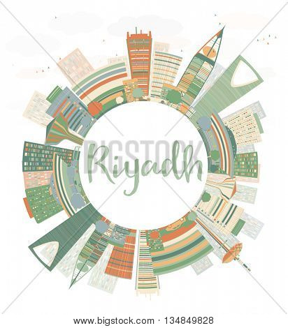 Abstract Riyadh skyline with Color buildings. Business and tourism concept with skyscrapers. Image for presentation, banner, placard or web site