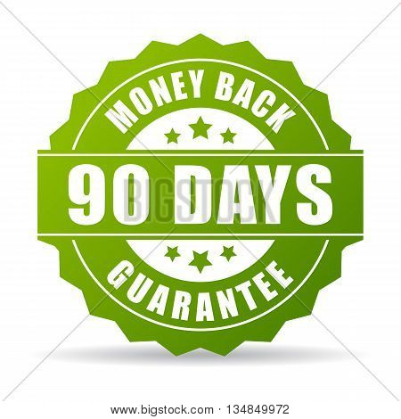 90 days money back green icon isolated on white background