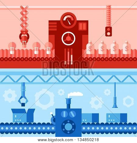 Two horizontal flat vector illustrations with scenes of conveyor line. Colored monochrome in red and blue.