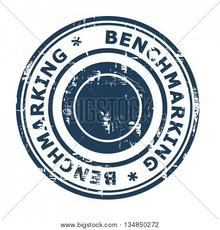 Benchmarking business concept rubber stamp isolated on a white background.