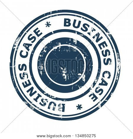 Business case concept rubber stamp isolated on a white background.
