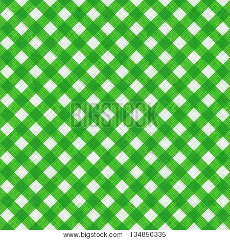 Seamless (you see 4 tiles) natural geen colors diagonal gingham background