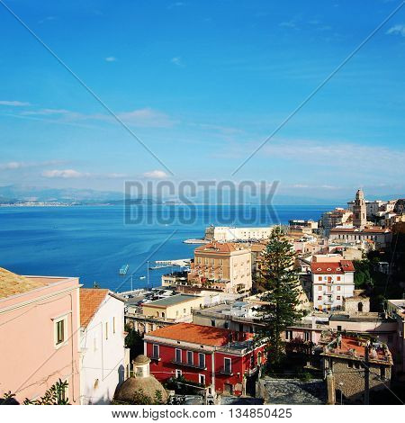 Roofs Of Gaeta. View From The Hill. Blue Sea.