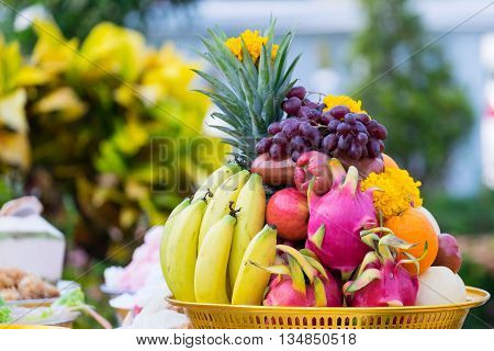 Fruits decorated with flowers in ceremony to salute the Bangkok City Pillar ShrineThailand.