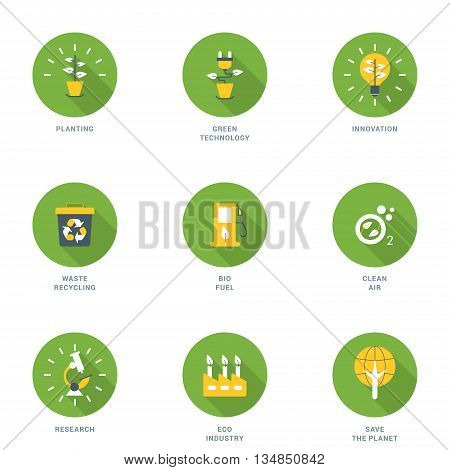 Set of Flat Design Ecology Icons With Long Shadow. Planting Green Technology Innovation Waste Recycling Bio Fuel Clean Air Research Eco Industry Save the Planet. Vector Icons