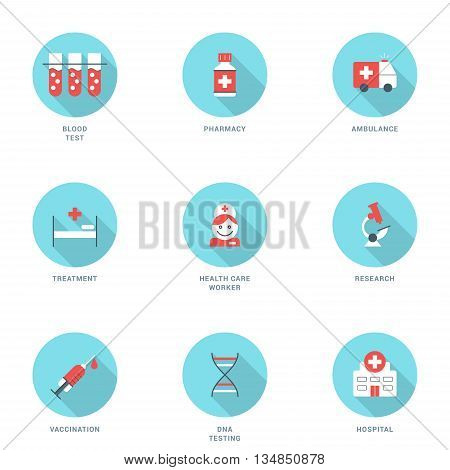 Set of Flat Design Medicine Icons With Long Shadow. Blood Test Pharmacy Ambulance Treatment Health Care Worker Research Vaccination DNA Testing Hospital. Vector Icons