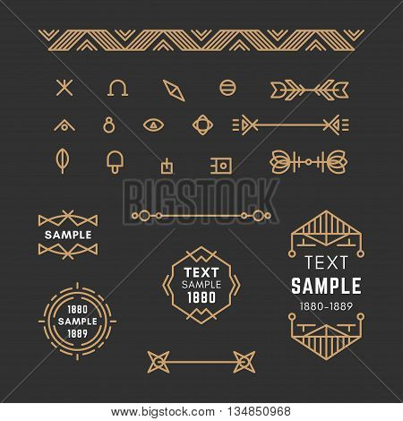 Set of Line Art Decorative Geometric Vector Frames and Borders with Golden and Black Colors. Vector Ornaments Vector Decoration Line Ornament Vector Logos Vector Labels. 19th century petroglyph viking slavic style.