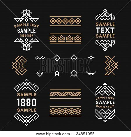 Set of Line Art Decorative Geometric Vector Frames and Borders with Golden and Black Colors. Vector Ornaments Vector Decoration Line Ornament Vector Logos Vector Labels