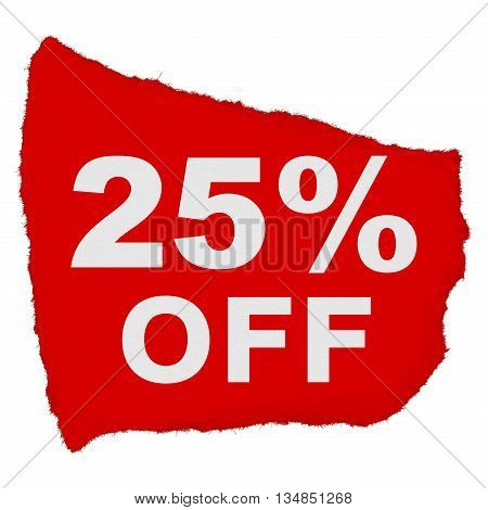 25% Off Torn Red Paper Scrap Isolated On White Background