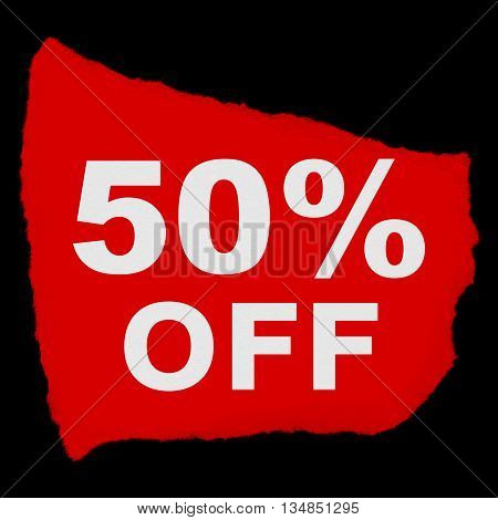 50% Off Torn Red Paper Scrap Isolated On Black Background