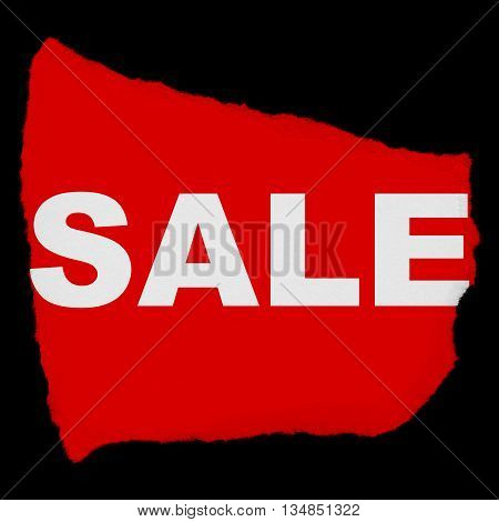 Sale Torn Red Paper Scrap Isolated On Black Background