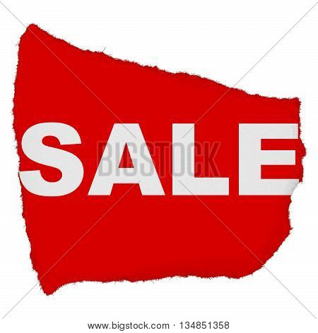 Sale Torn Red Paper Scrap Isolated On White Background