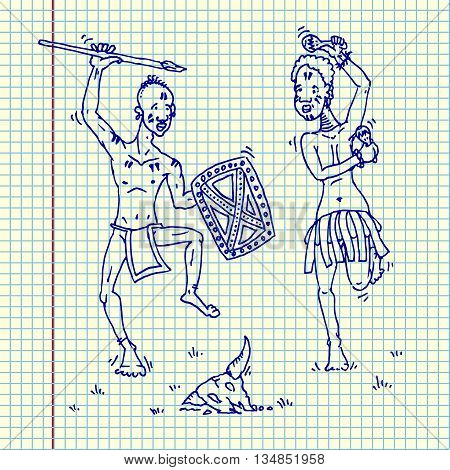 African people dancing around animal skull. Hand drawn vector stock illustraton. Sheet ballpen drawing
