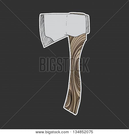 Axe icon. Colorful hand drawn vector stock illustration