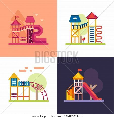 Playgrounds for Kids. Set of four colored flat vector illustrations