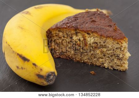 Banana Cake On Slate Surface