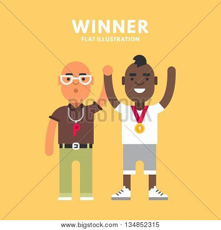 African american gold winner and a referee. Colored flat vector illustration on yellow background