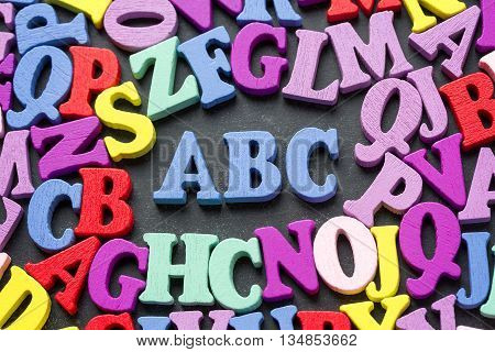 Abc Alphabet Letters On Blackboard