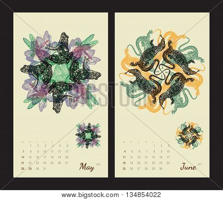 Animal printable calendar 2017 with flora and fauna fractals on beige background. Set 3 - May and June pages