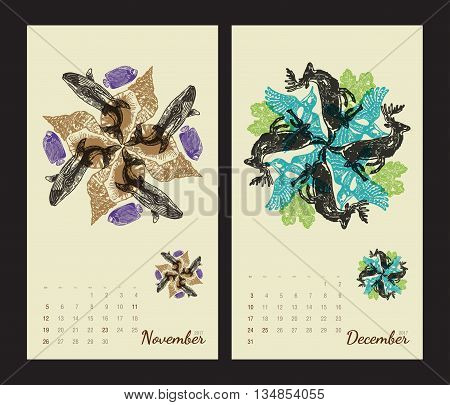 Animal printable calendar 2017 with flora and fauna fractals on beige background. Set 6 - November and December pages