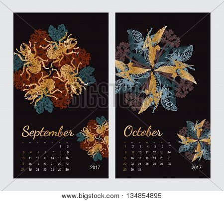 Animal printable calendar 2017 with flora and fauna fractals on black background. Set 5 - September and October pages