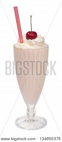 cherry milkshake with whipped cream in tall glass on a white background