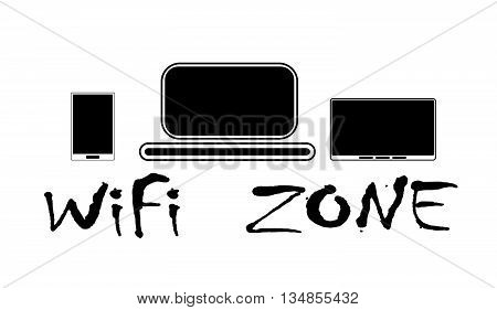 WiFi zone and devices, vector, on the white background