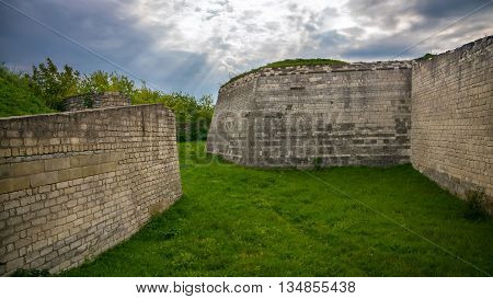 old ruined wall against the sky. Ukraine