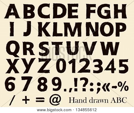 Hand drawn vector font in grunge style English ABC letters numbers and symbols